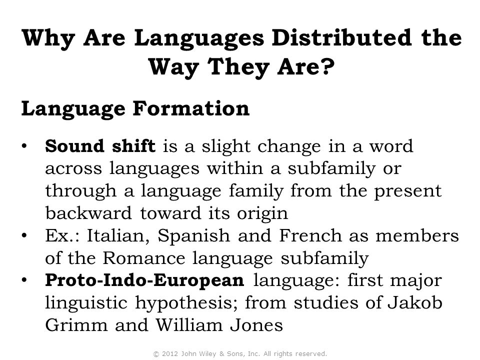 Sound shift is a slight change in a word across languages within a subfamily or through a language family from the present backward toward its origin
