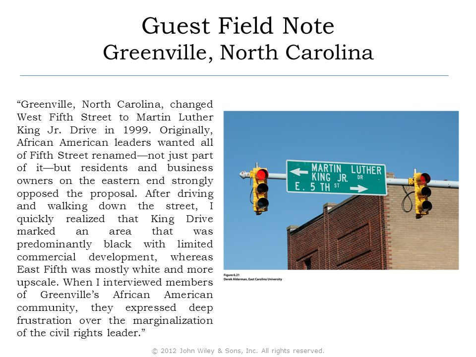 """Guest Field Note Greenville, North Carolina """"Greenville, North Carolina, changed West Fifth Street to Martin Luther King Jr. Drive in 1999. Originally"""
