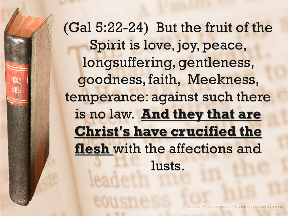 And they that are Christ's have crucified the flesh (Gal 5:22-24) But the fruit of the Spirit is love, joy, peace, longsuffering, gentleness, goodness