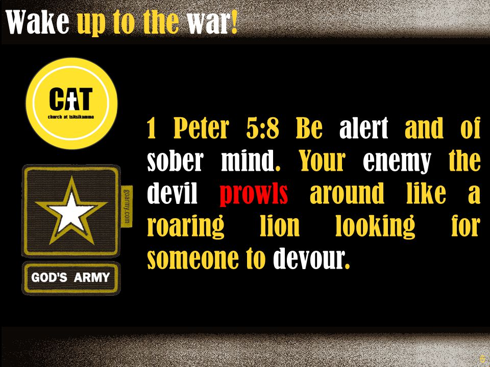 6 1 Peter 5:8 Be alert and of sober mind.