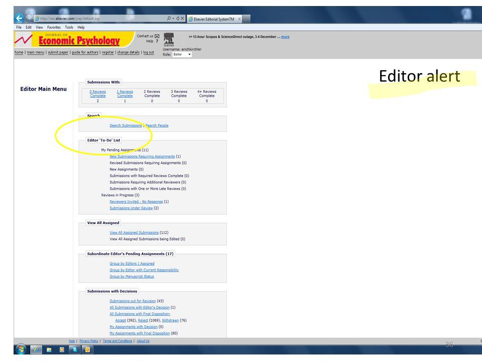 Editor alert 36