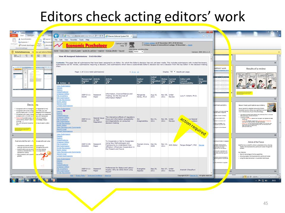 Editors check acting editors' work action required 45
