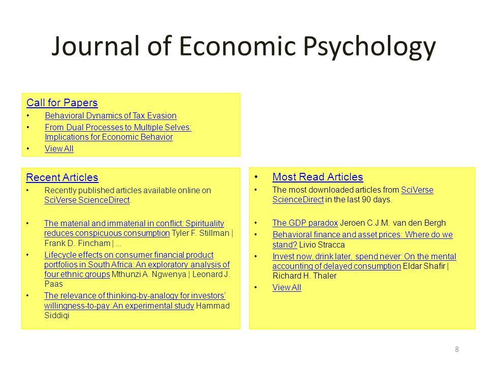 Journal of Economic Psychology Call for Papers Behavioral Dynamics of Tax Evasion From Dual Processes to Multiple Selves: Implications for Economic BehaviorFrom Dual Processes to Multiple Selves: Implications for Economic Behavior View All Recent Articles Recently published articles available online on SciVerse ScienceDirect.