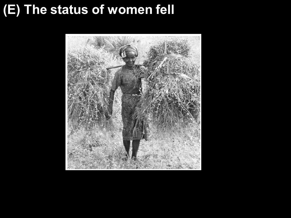 The status of women fell (E) The status of women fell