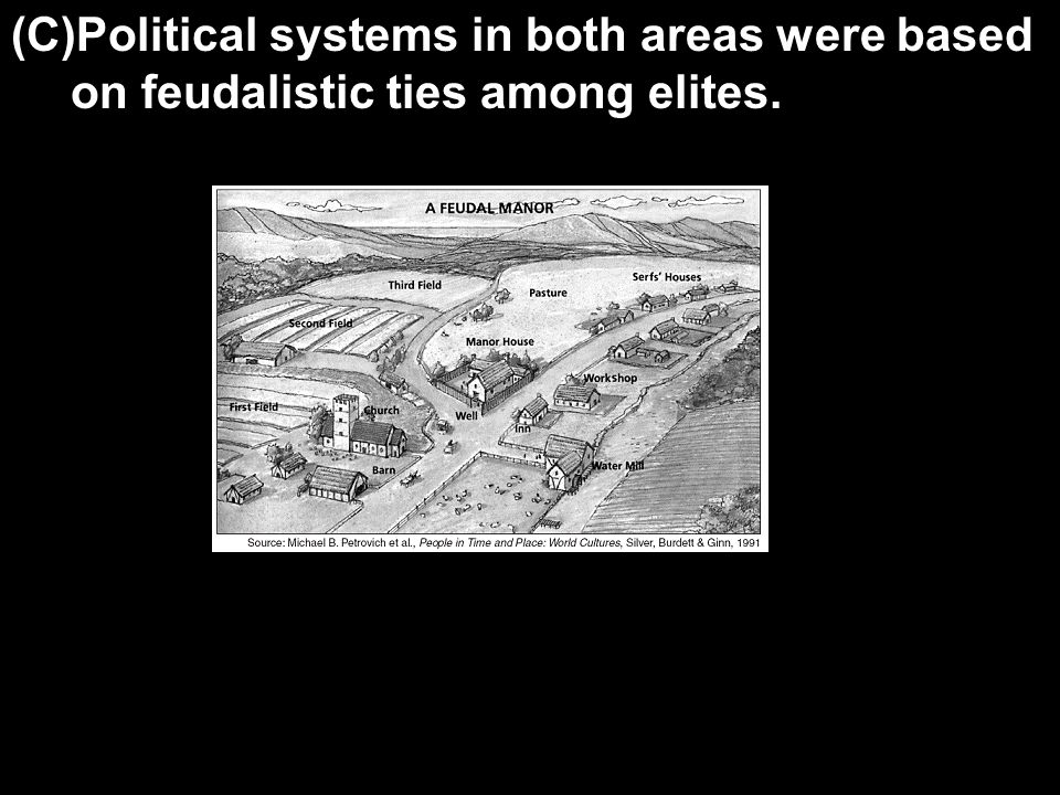 (C)Political systems in both areas were based on feudalistic ties among elites.