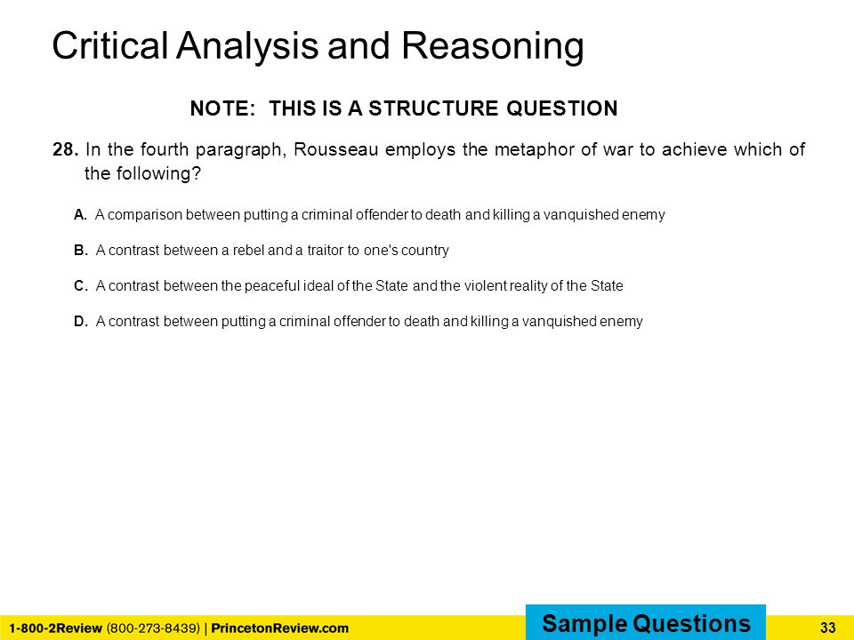 Critical Analysis and Reasoning 28.