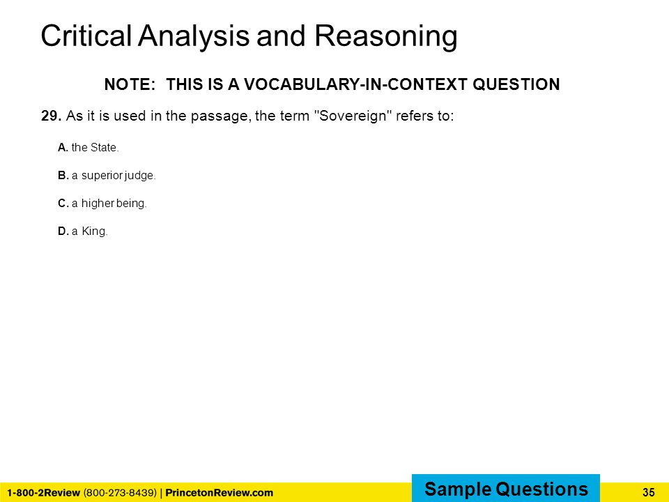 Critical Analysis and Reasoning 29.