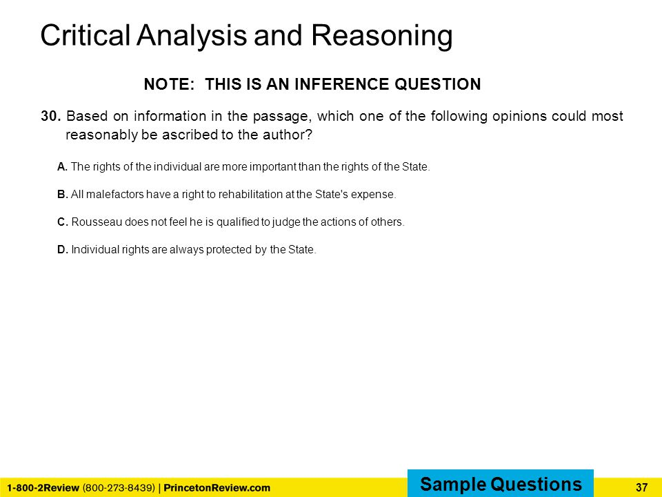 Critical Analysis and Reasoning 30.
