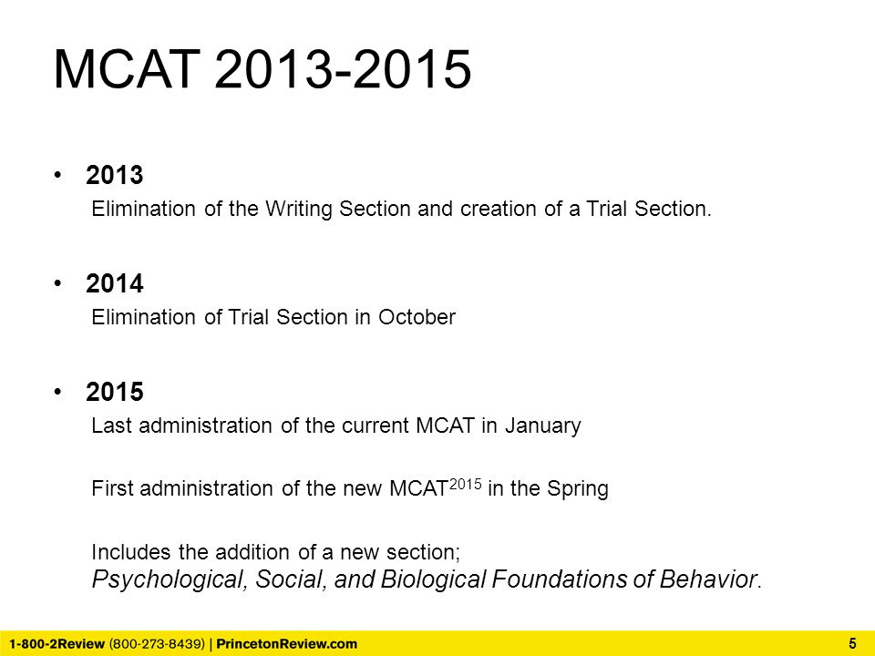 MCAT 2013-2015 2013 Elimination of the Writing Section and creation of a Trial Section.