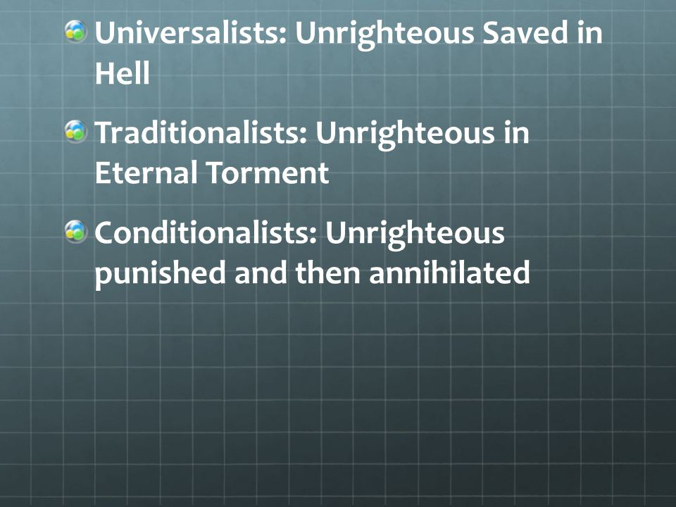 Universalists: Unrighteous Saved in Hell Traditionalists: Unrighteous in Eternal Torment Conditionalists: Unrighteous punished and then annihilated