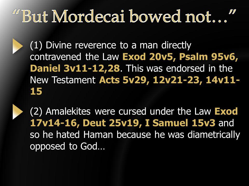 (1) Divine reverence to a man directly contravened the Law Exod 20v5, Psalm 95v6, Daniel 3v11-12,28.