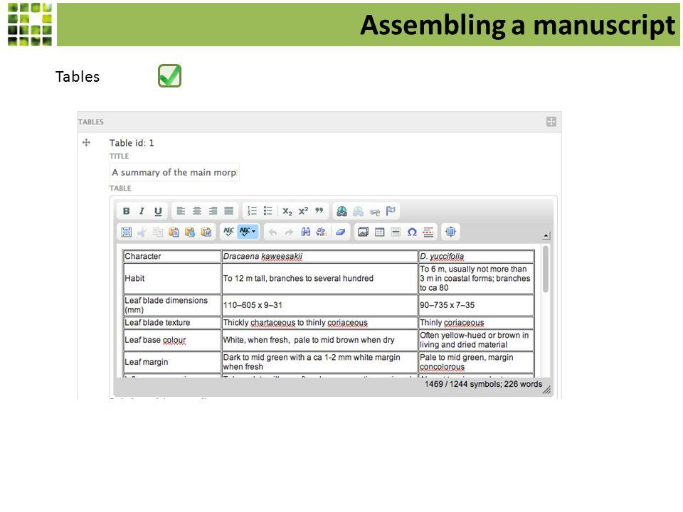 Tables Assembling a manuscript
