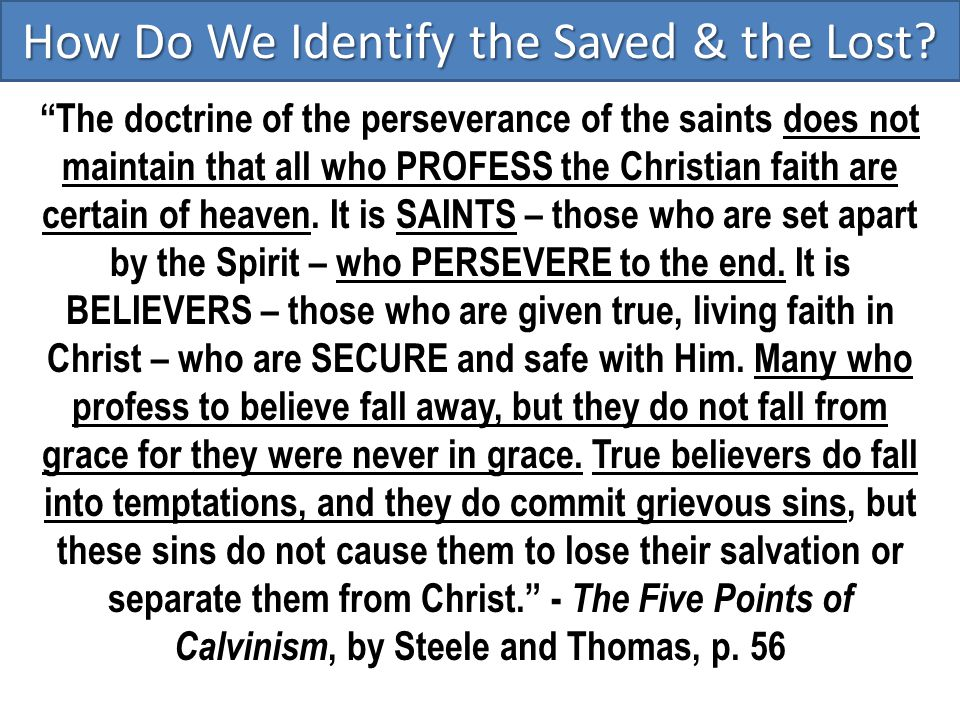 """How Do We Identify the Saved & the Lost? """"The doctrine of the perseverance of the saints does not maintain that all who PROFESS the Christian faith ar"""