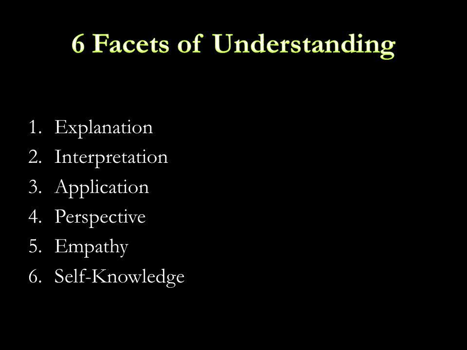 1.Explanation 2.Interpretation 3.Application 4.Perspective 5.Empathy 6.Self-Knowledge