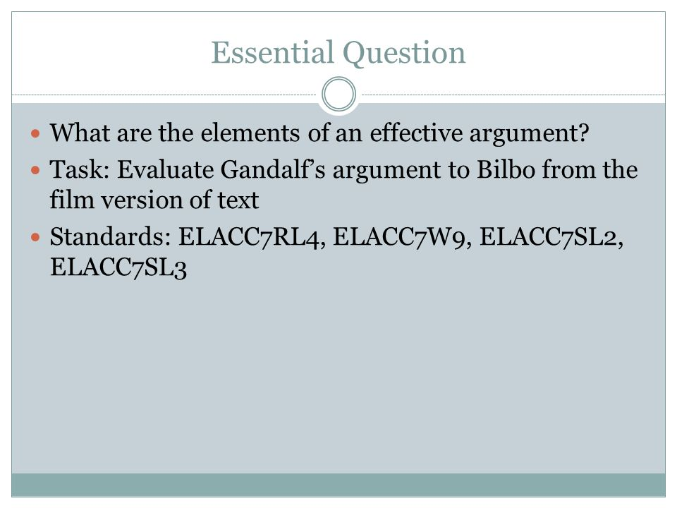 Essential Question What are the elements of an effective argument? Task: Evaluate Gandalf's argument to Bilbo from the film version of text Standards:
