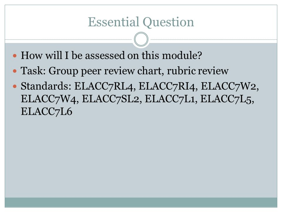 Essential Question How will I be assessed on this module? Task: Group peer review chart, rubric review Standards: ELACC7RL4, ELACC7RI4, ELACC7W2, ELAC