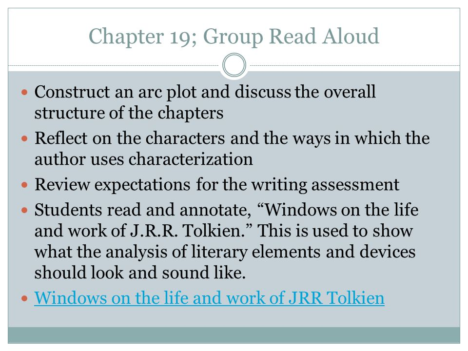Conduct Assessment 1 Informational/Explanatory Literary Analysis The Hobbit by J.R.R.