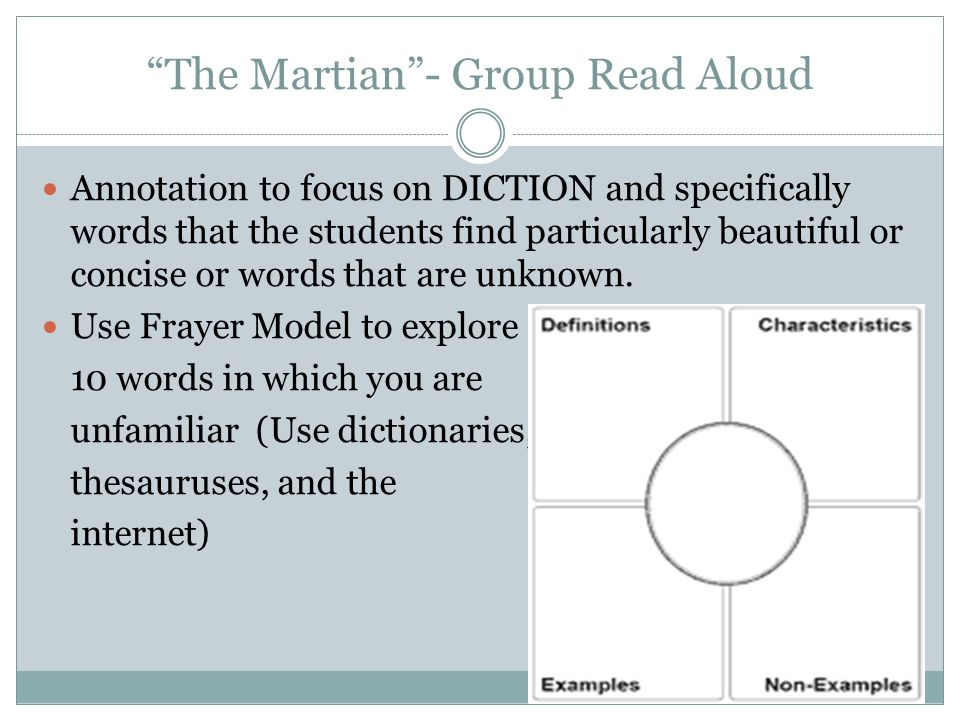"""The Martian""- Group Read Aloud Annotation to focus on DICTION and specifically words that the students find particularly beautiful or concise or word"