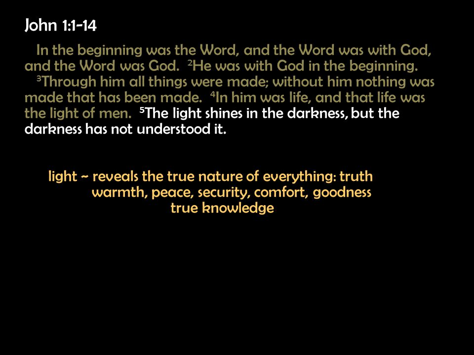 John 1:1-14 In the beginning was the Word, and the Word was with God, and the Word was God.