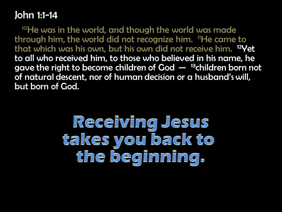 John 1:1-14 10 He was in the world, and though the world was made through him, the world did not recognize him.