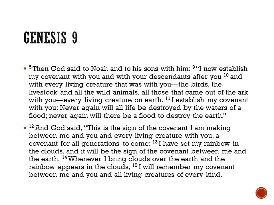  8 Then God said to Noah and to his sons with him: 9 I now establish my covenant with you and with your descendants after you 10 and with every living creature that was with you—the birds, the livestock and all the wild animals, all those that came out of the ark with you—every living creature on earth.