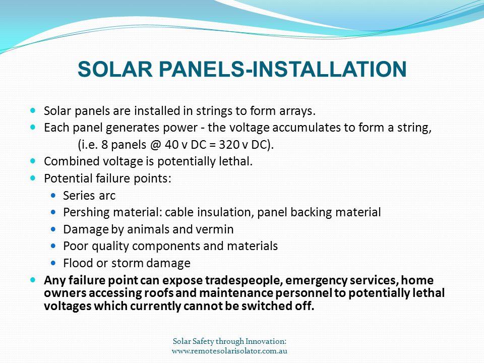 INNOVATIVE PRODUCT OF THE YEAR 2012 Solar Safety through Innovation: www.remotesolarisolator.com.au