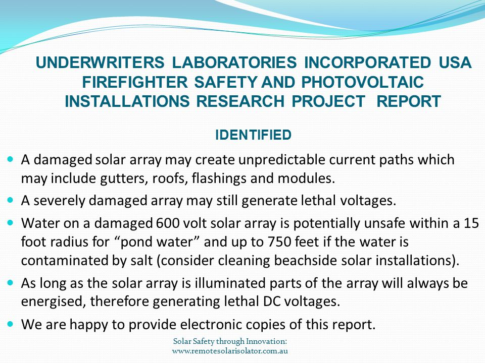 CURRENT PROBLEM Unable to isolate and make safe rooftop solar generators.