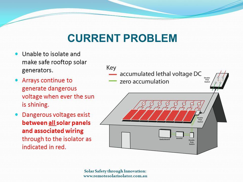 ISOLATION – PANEL VOLTAGES NO LONGER COMBINE Solar Safety through Innovation: www.remotesolarisolator.com.au