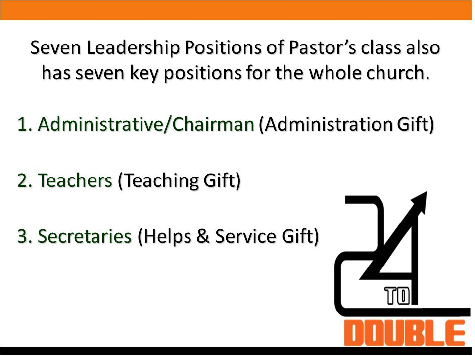 Seven Leadership Positions of Pastor's class also has seven key positions for the whole church. 1. Administrative/Chairman (Administration Gift)‏ 2. T