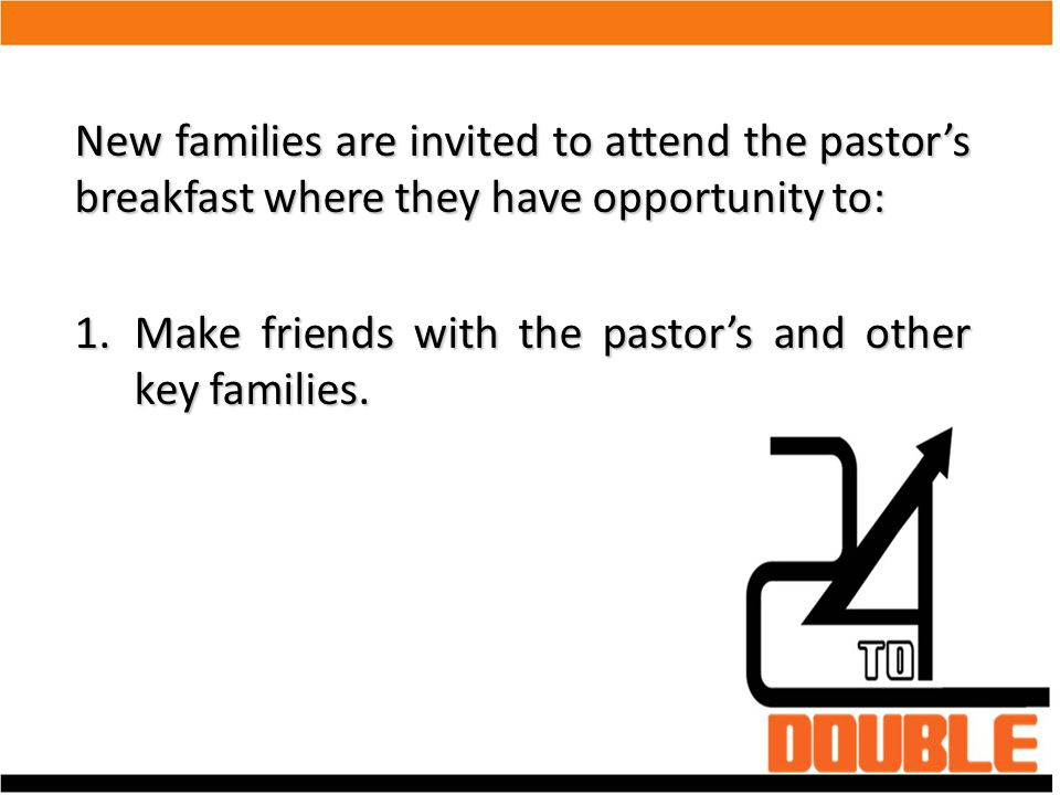 Church Plants or churches which do not have a Sunday school hour can opt to have a Friday Fun Night in place of the pastor's breakfast.