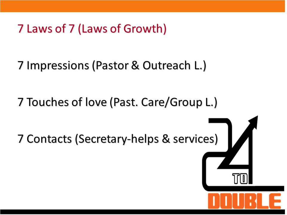 7 Laws of 7 (Laws of Growth)‏ 7 Impressions (Pastor & Outreach L.)‏ 7 Touches of love (Past. Care/Group L.)‏ 7 Contacts (Secretary-helps & services)‏