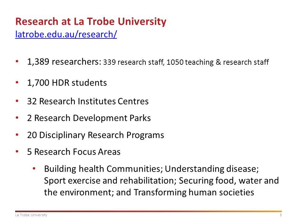 3La Trobe University Research at La Trobe University latrobe.edu.au/research/ latrobe.edu.au/research/ 1,389 researchers: 339 research staff, 1050 tea