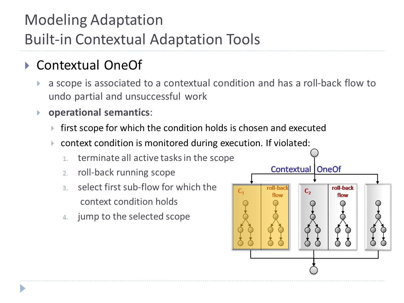 Modeling Adaptation Built-in Contextual Adaptation Tools  Contextual OneOf  a scope is associated to a contextual condition and has a roll-back flow to undo partial and unsuccessful work  operational semantics:  first scope for which the condition holds is chosen and executed  context condition is monitored during execution.