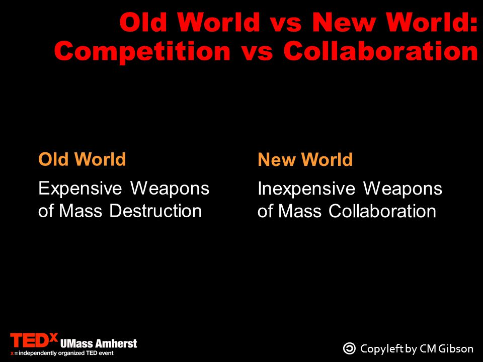 Expensive Weapons of Mass Destruction Inexpensive Weapons of Mass Collaboration Old World New World Old World vs New World: Competition vs Collaboration Copyleft by CM Gibson