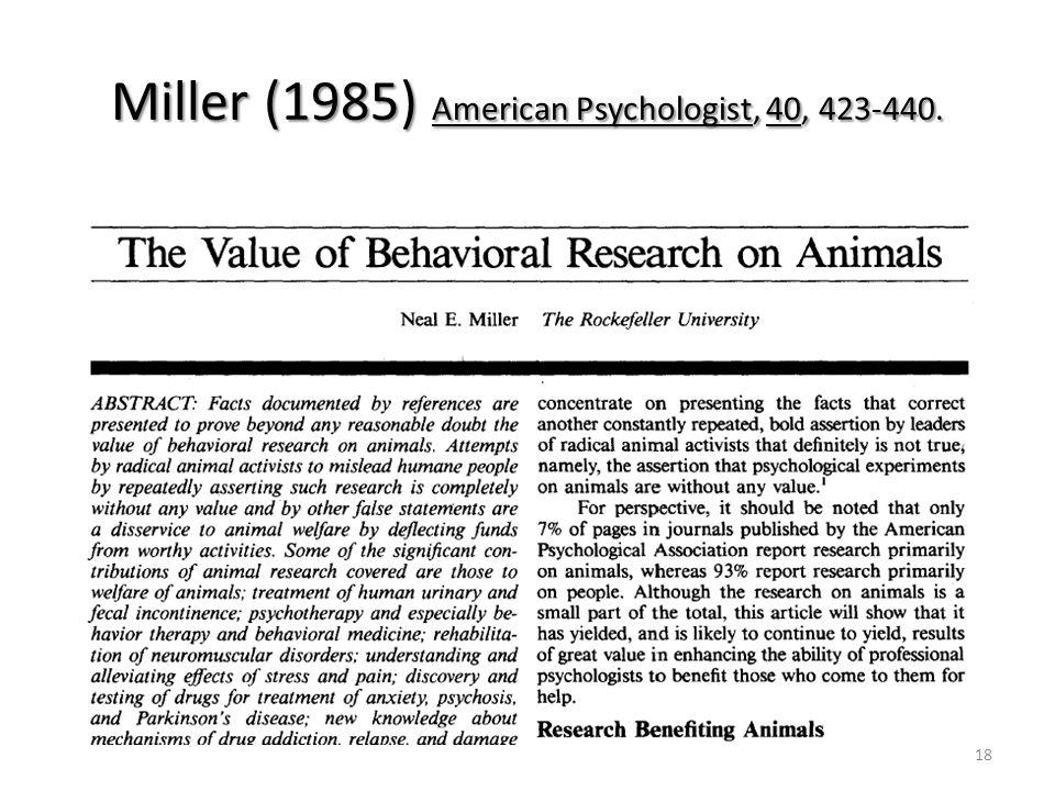 18 Miller (1985) American Psychologist, 40, 423-440.