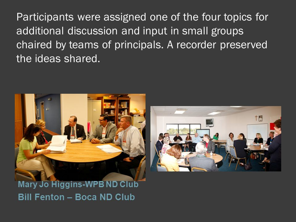 Participants were assigned one of the four topics for additional discussion and input in small groups chaired by teams of principals.