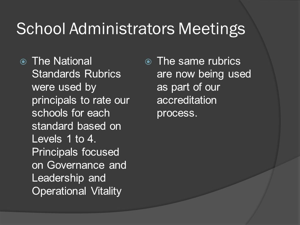 School Administrators Meetings  The National Standards Rubrics were used by principals to rate our schools for each standard based on Levels 1 to 4.