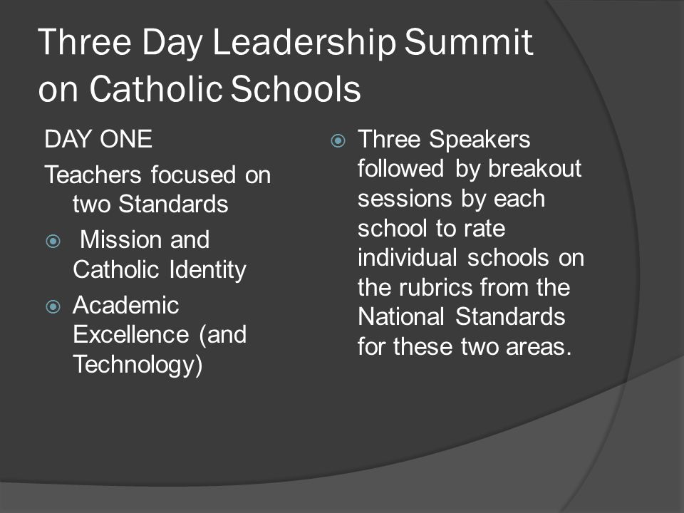 Speakers – Days One and Two Mission and Catholic Identity: Leland Nagel Academic Excellence: Sr.
