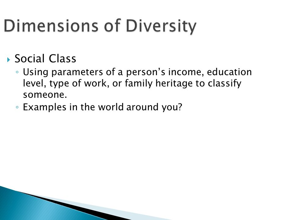 Dimensions of Diversity  Social Class ◦ Using parameters of a person's income, education level, type of work, or family heritage to classify someone.