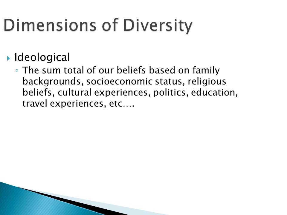 Dimensions of Diversity  Ideological ◦ The sum total of our beliefs based on family backgrounds, socioeconomic status, religious beliefs, cultural experiences, politics, education, travel experiences, etc….