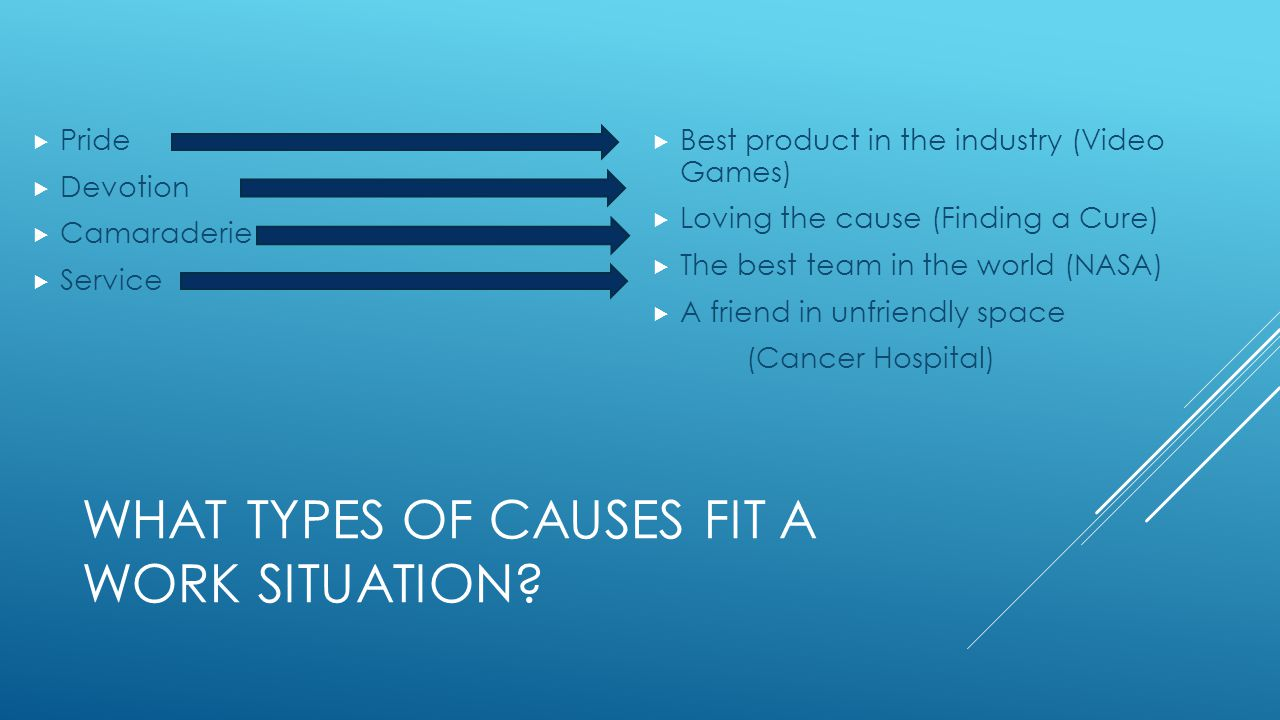 WHAT TYPES OF CAUSES FIT A WORK SITUATION.