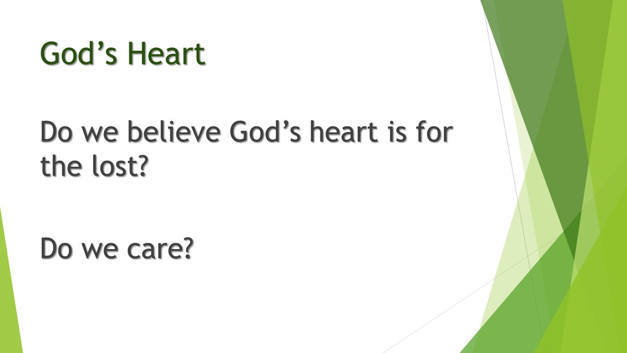 God's Heart Do we believe God's heart is for the lost? Do we care?