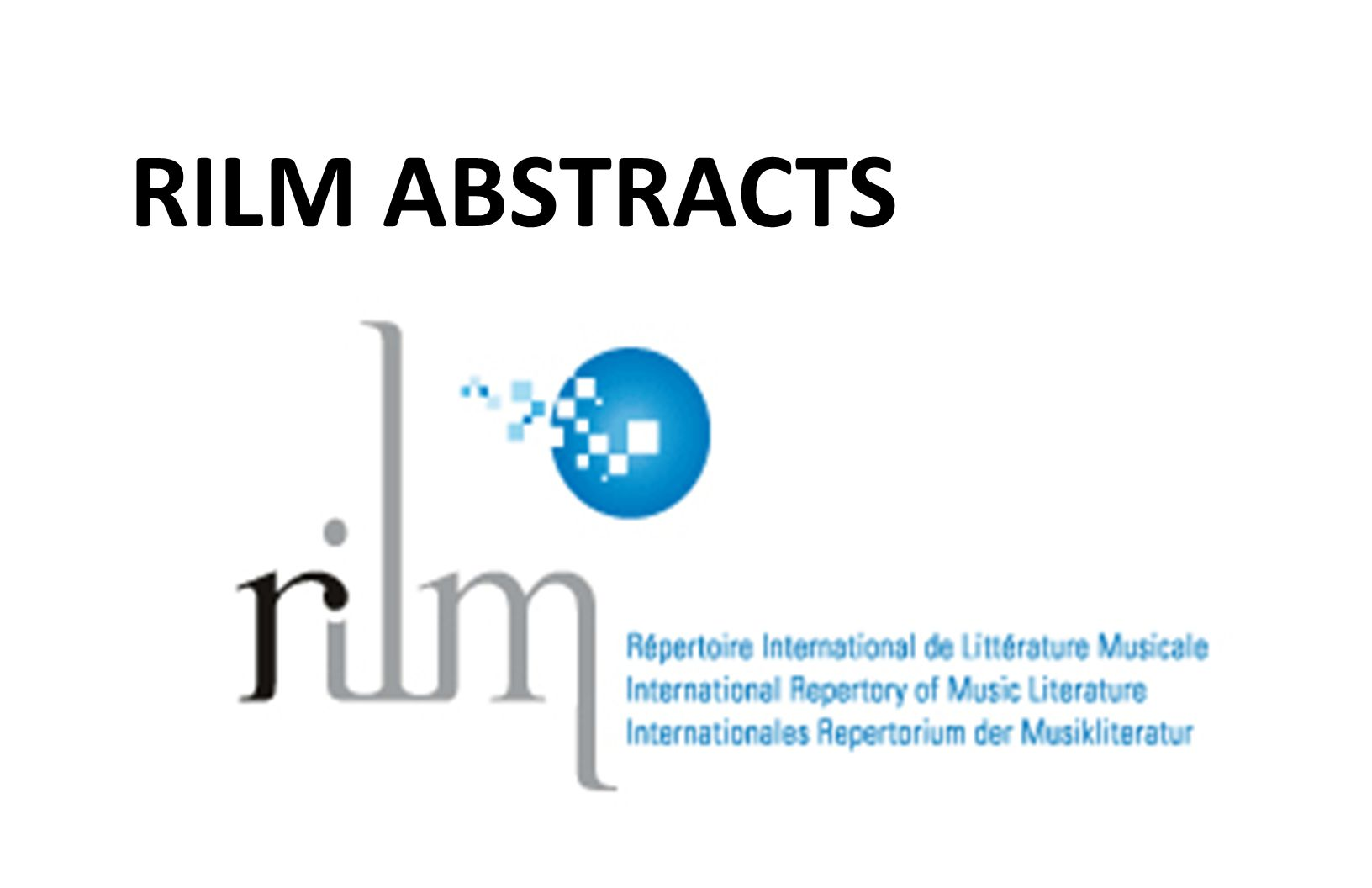 RILM ABSTRACTS
