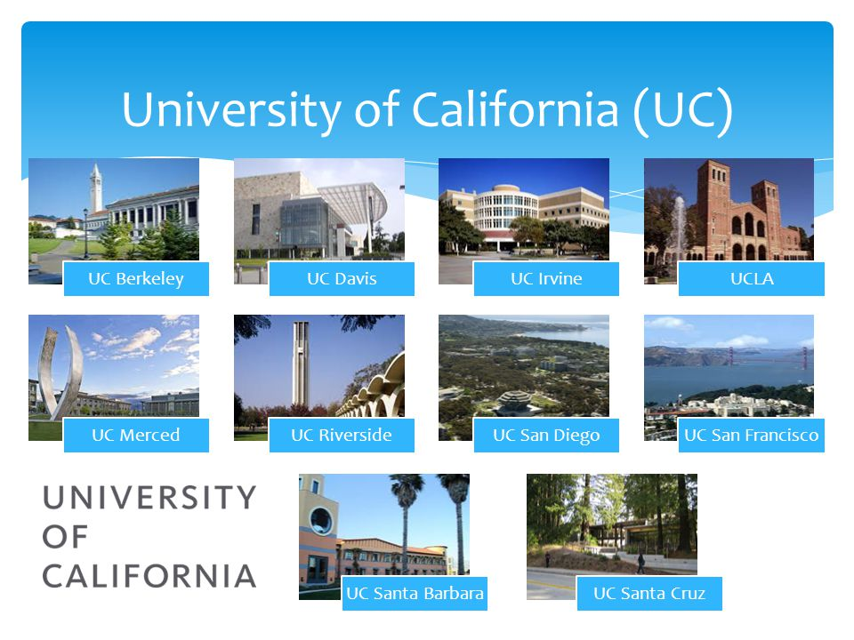 University of California(UC) UC BerkeleyUC DavisUC IrvineUCLA UC MercedUC RiversideUC San DiegoUC San Francisco UC Santa BarbaraUC Santa Cruz