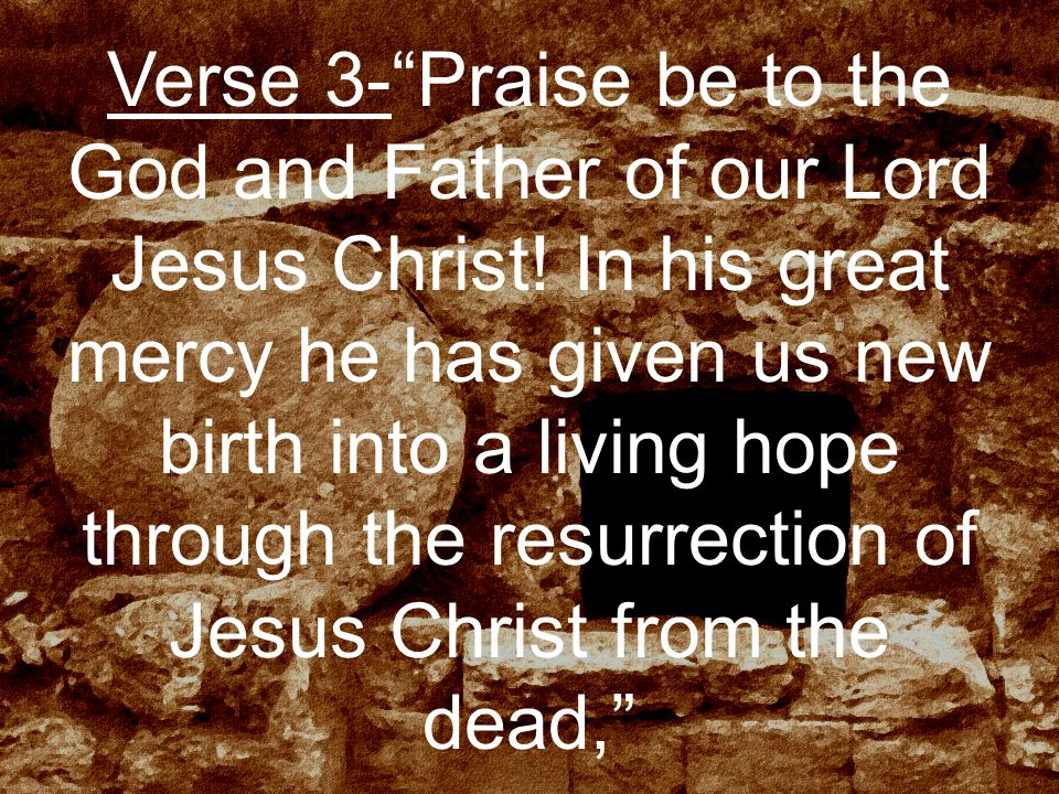 Verse 3- Praise be to the God and Father of our Lord Jesus Christ.