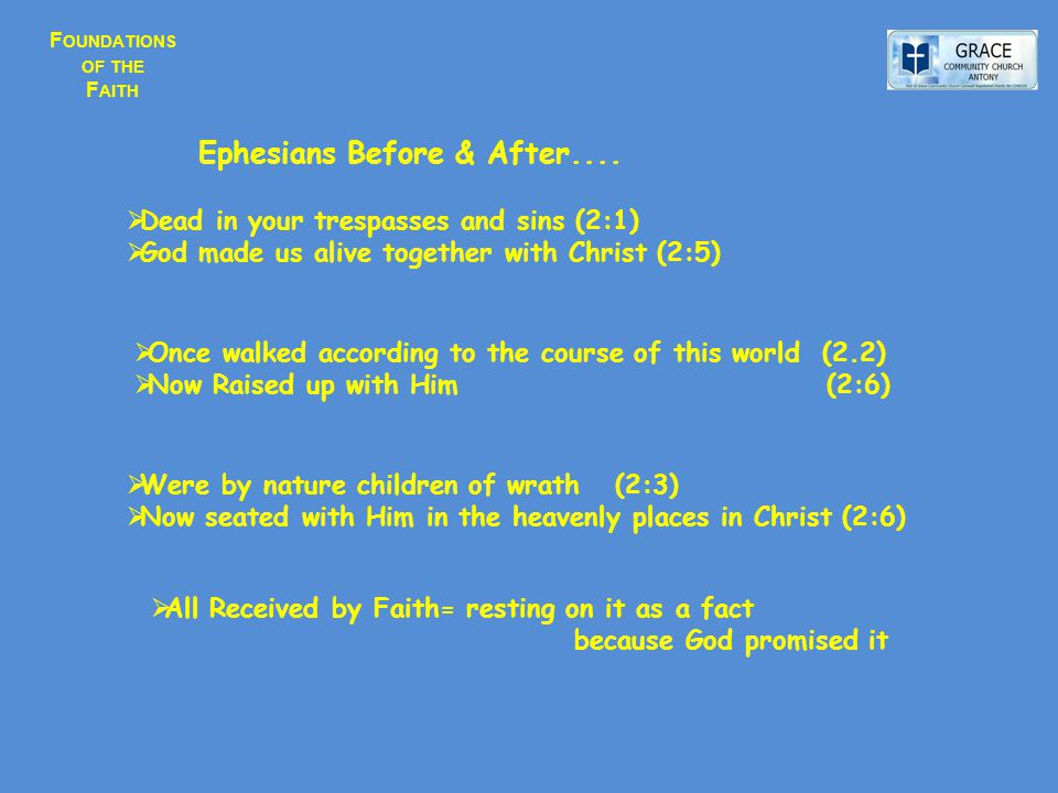 F OUNDATIONS OF THE F AITH  Dead in your trespasses and sins (2:1)  God made us alive together with Christ (2:5)  Once walked according to the course of this world (2.2)  Now Raised up with Him (2:6)  Were by nature children of wrath (2:3)  Now seated with Him in the heavenly places in Christ (2:6)  All Received by Faith= resting on it as a fact because God promised it Ephesians Before & After....