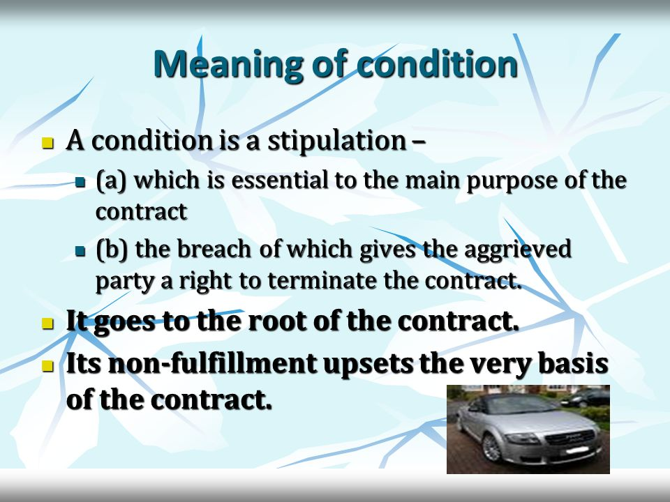 Exceptions to the doctrine of caveat emptor In case of misrepresentation by the seller In case of misrepresentation by the seller In case of concealment of latent defect In case of concealment of latent defect In case of sale by description In case of sale by description In case of sale by sample In case of sale by sample In case of sale by sample and description In case of sale by sample and description Fitness for a particular purpose Fitness for a particular purpose Merchantable quality Merchantable quality