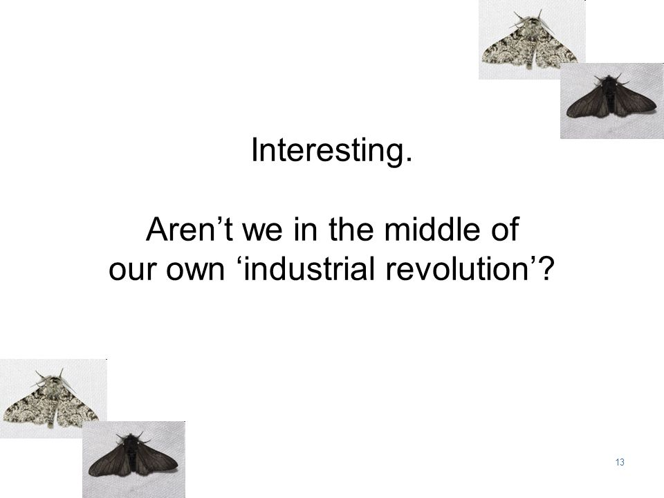 13 Interesting. Aren't we in the middle of our own 'industrial revolution'