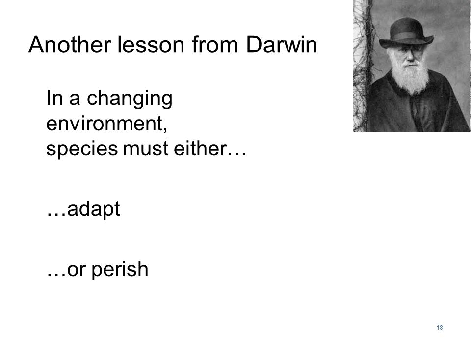 18 In a changing environment, species must either… …adapt …or perish Another lesson from Darwin