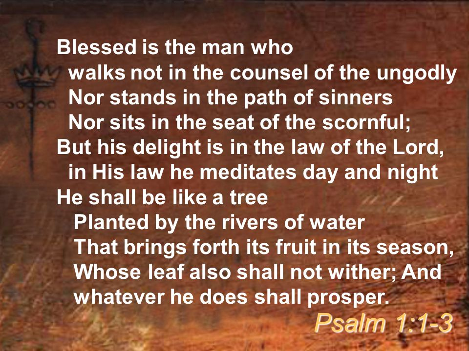 Blessed is the man who walks not in the counsel of the ungodly Nor stands in the path of sinners Nor sits in the seat of the scornful; But his delight is in the law of the Lord, in His law he meditates day and night He shall be like a tree Planted by the rivers of water That brings forth its fruit in its season, Whose leaf also shall not wither; And whatever he does shall prosper.